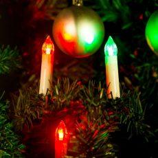 Karácsonyi LED gyertyafüzér - Multicolor - 10 LED - 2 x AA
