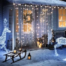 Karácsonyi LED fényfüggöny - 220 x 150 cm - melegfehér - 8 funkció - IP44