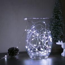 Karácsonyi LED fényfüzér - 5 m - 50 LED - hidegfehér - 3 x AA