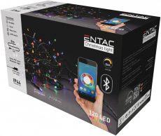Karácsonyi IP44 Fényfüzér 120 LED Multicolor 9m,  BT aplikációval